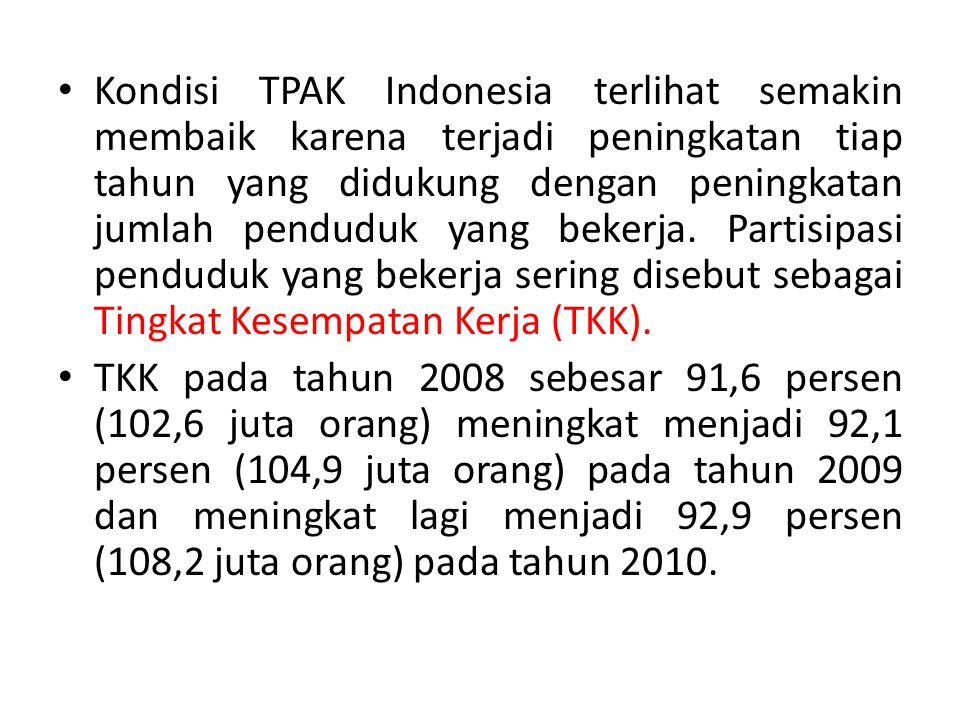 Kondisi TPAK Indonesia terlihat semakin membaik karena terjadi peningkatan tiap tahun yang didukung dengan peningkatan jumlah penduduk yang bekerja. Partisipasi penduduk yang bekerja sering disebut sebagai Tingkat Kesempatan Kerja (TKK).