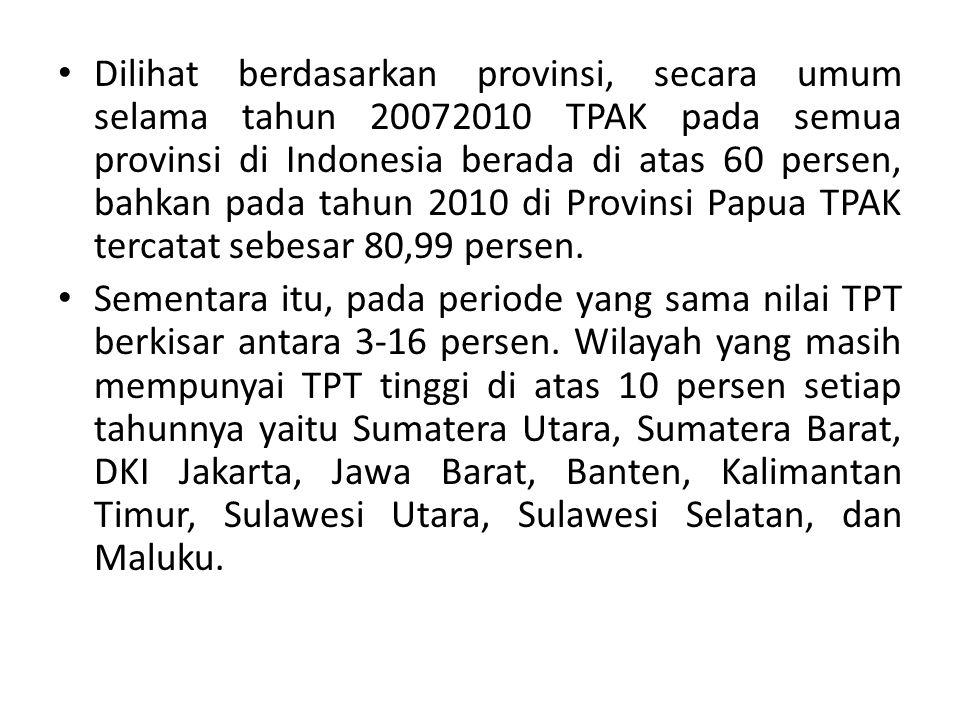 Dilihat berdasarkan provinsi, secara umum selama tahun 20072010 TPAK pada semua provinsi di Indonesia berada di atas 60 persen, bahkan pada tahun 2010 di Provinsi Papua TPAK tercatat sebesar 80,99 persen.