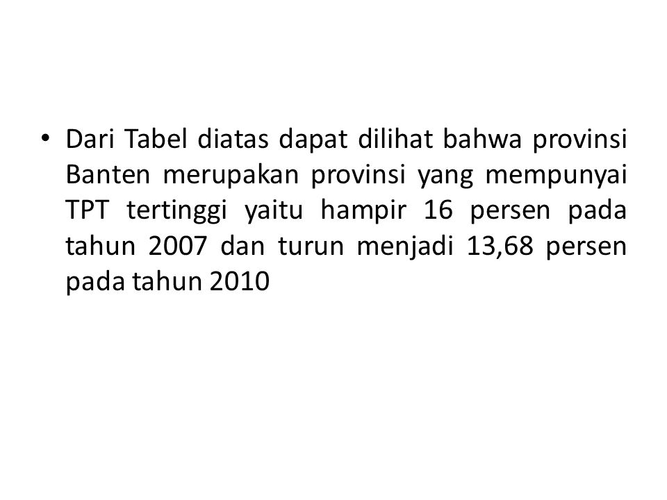 Dari Tabel diatas dapat dilihat bahwa provinsi Banten merupakan provinsi yang mempunyai TPT tertinggi yaitu hampir 16 persen pada tahun 2007 dan turun menjadi 13,68 persen pada tahun 2010
