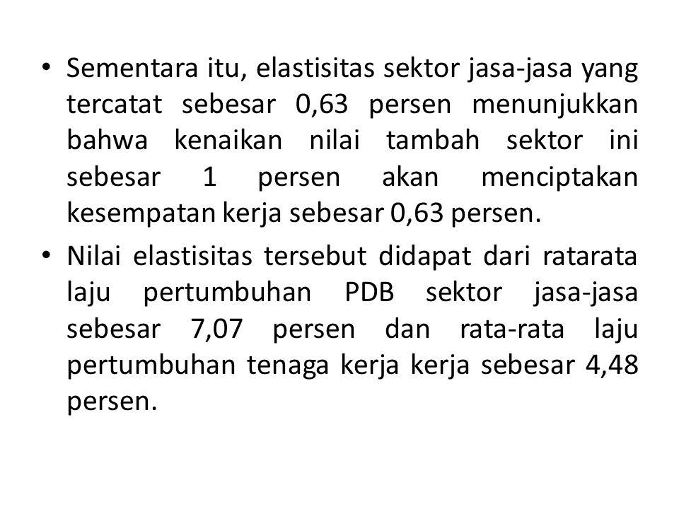 Sementara itu, elastisitas sektor jasa-jasa yang tercatat sebesar 0,63 persen menunjukkan bahwa kenaikan nilai tambah sektor ini sebesar 1 persen akan menciptakan kesempatan kerja sebesar 0,63 persen.