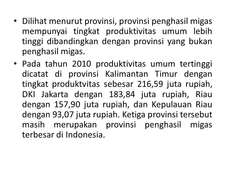 Dilihat menurut provinsi, provinsi penghasil migas mempunyai tingkat produktivitas umum lebih tinggi dibandingkan dengan provinsi yang bukan penghasil migas.