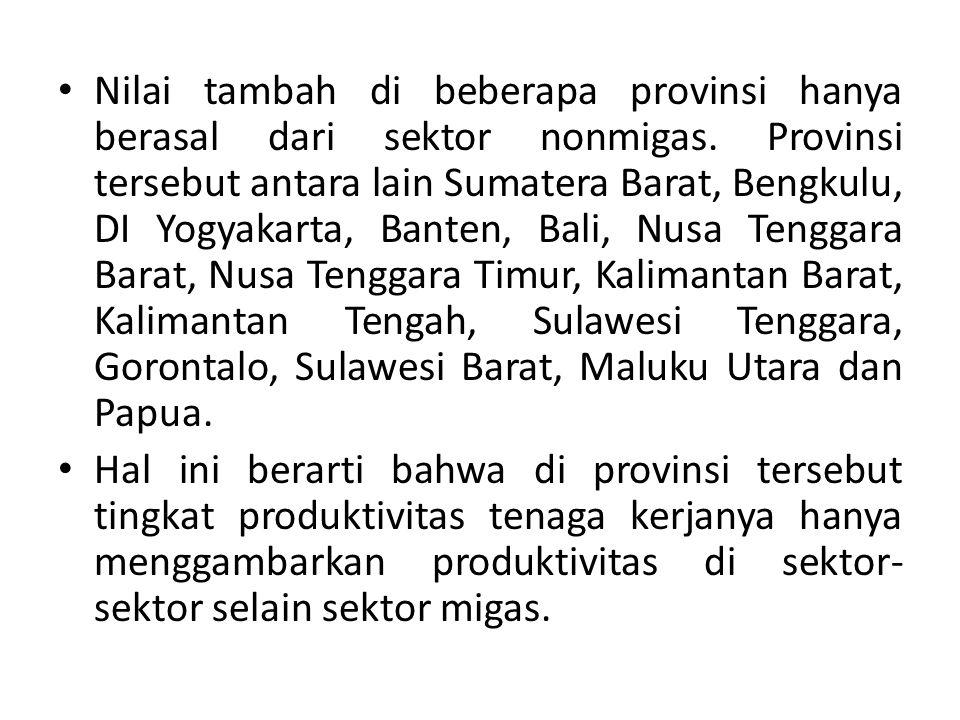 Nilai tambah di beberapa provinsi hanya berasal dari sektor nonmigas
