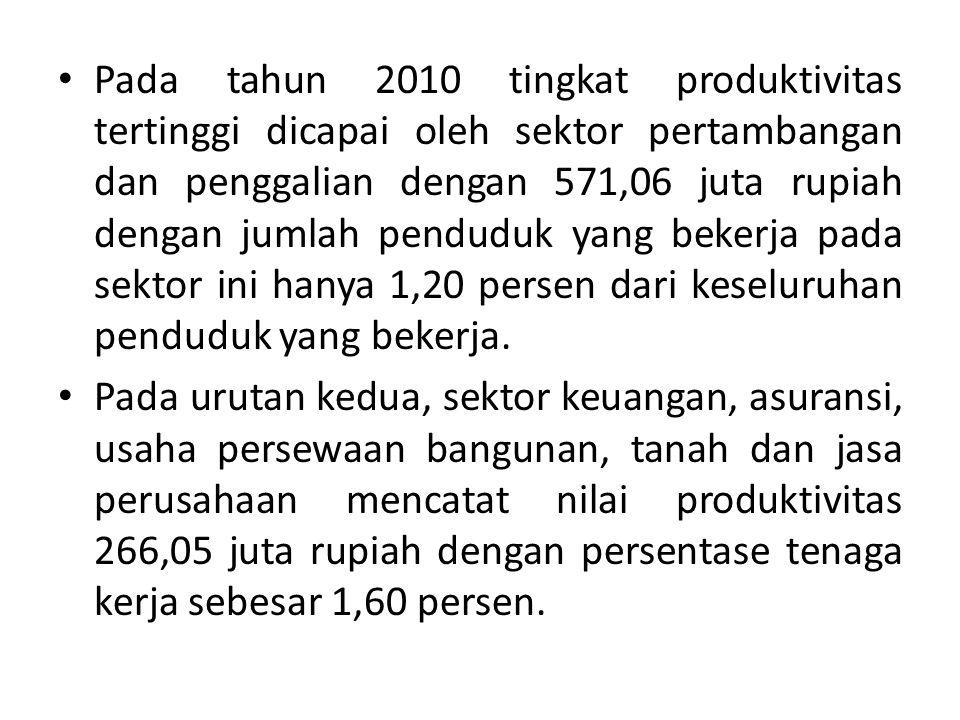Pada tahun 2010 tingkat produktivitas tertinggi dicapai oleh sektor pertambangan dan penggalian dengan 571,06 juta rupiah dengan jumlah penduduk yang bekerja pada sektor ini hanya 1,20 persen dari keseluruhan penduduk yang bekerja.