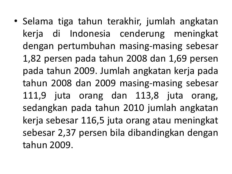 Selama tiga tahun terakhir, jumlah angkatan kerja di Indonesia cenderung meningkat dengan pertumbuhan masing-masing sebesar 1,82 persen pada tahun 2008 dan 1,69 persen pada tahun 2009.
