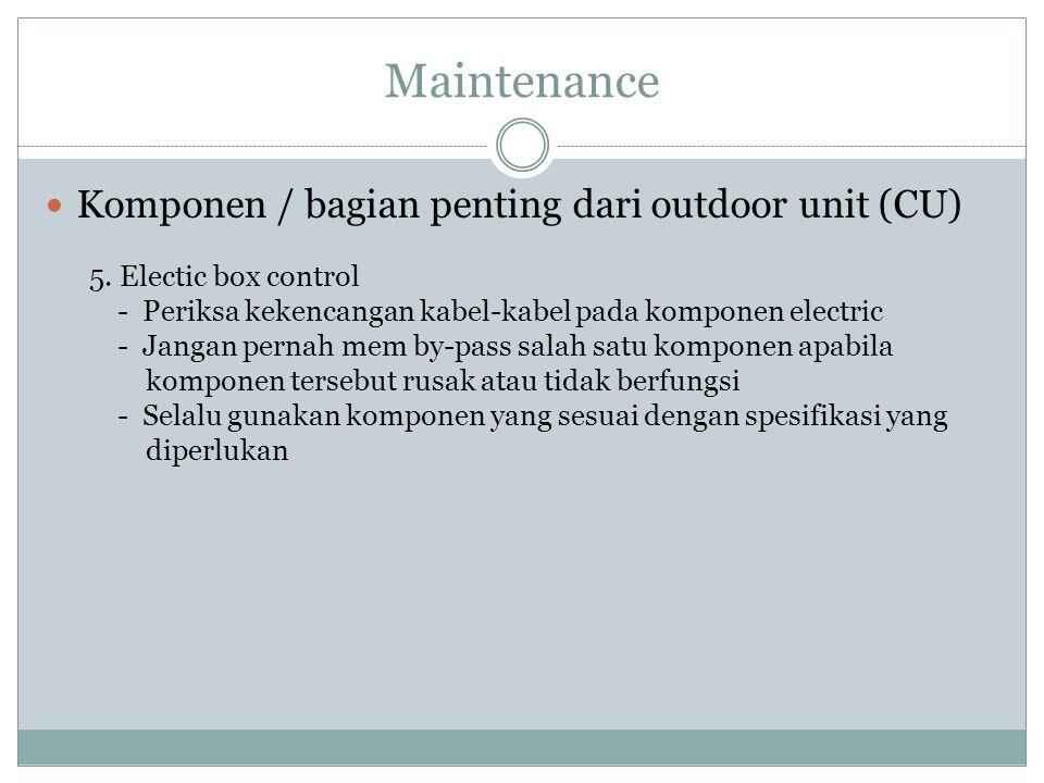 Maintenance Komponen / bagian penting dari outdoor unit (CU)