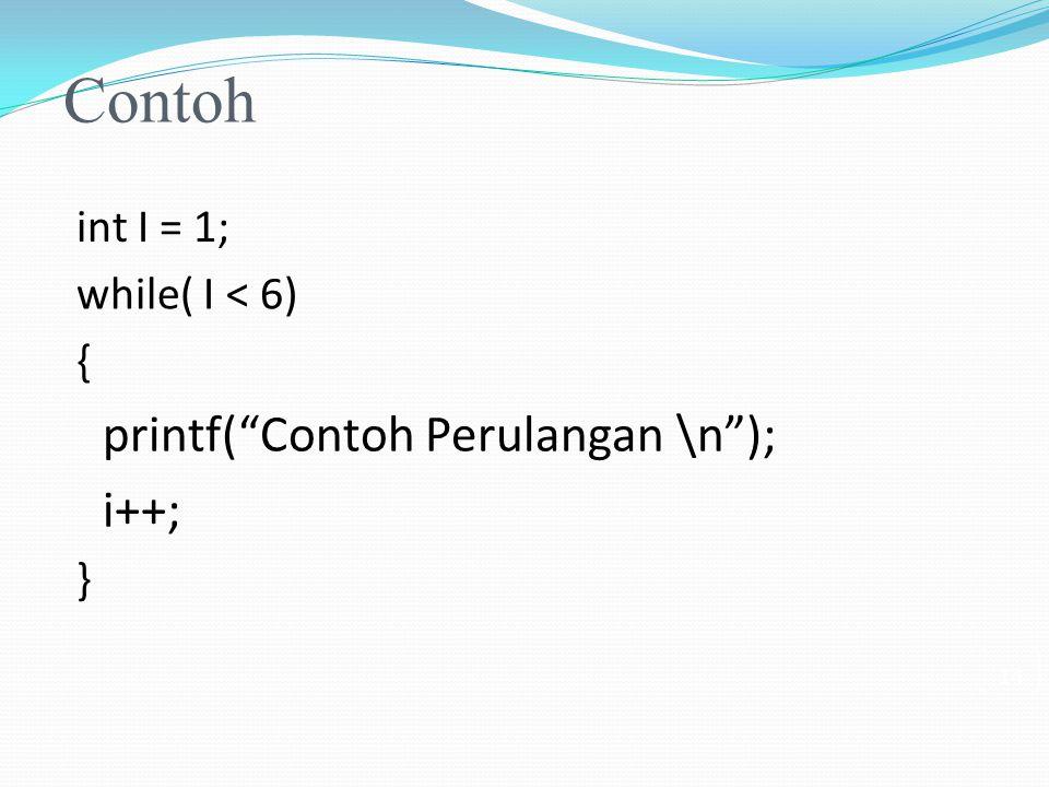 Contoh printf( Contoh Perulangan \n ); i++; int I = 1;