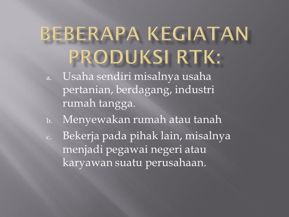 Beberapa kegiatan produksi RTK: