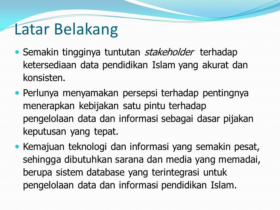 Latar Belakang Semakin tingginya tuntutan stakeholder terhadap ketersediaan data pendidikan Islam yang akurat dan konsisten.