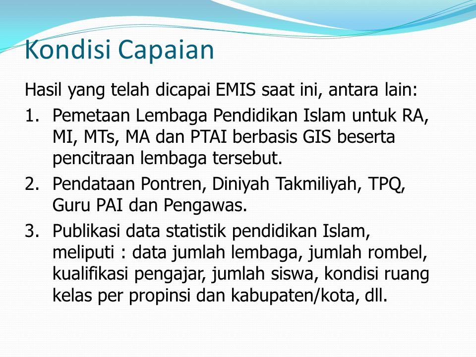 Kondisi Capaian Hasil yang telah dicapai EMIS saat ini, antara lain: