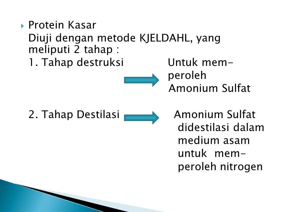 Protein Kasar Diuji dengan metode KJELDAHL, yang meliputi 2 tahap : 1. Tahap destruksi Untuk mem-