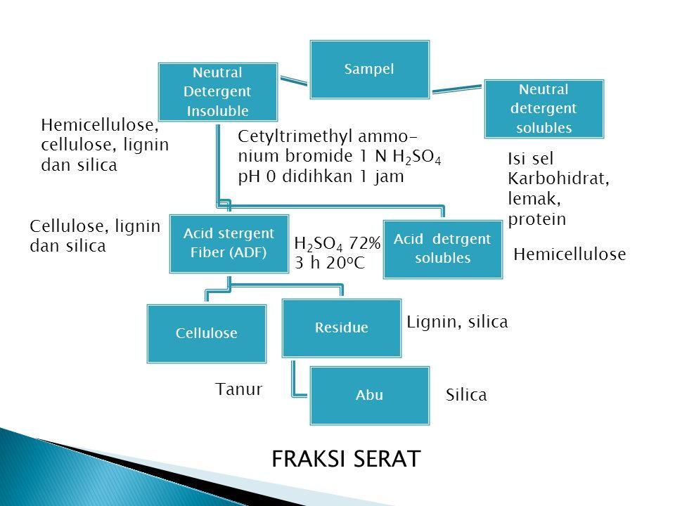 FRAKSI SERAT Hemicellulose, cellulose, lignin dan silica
