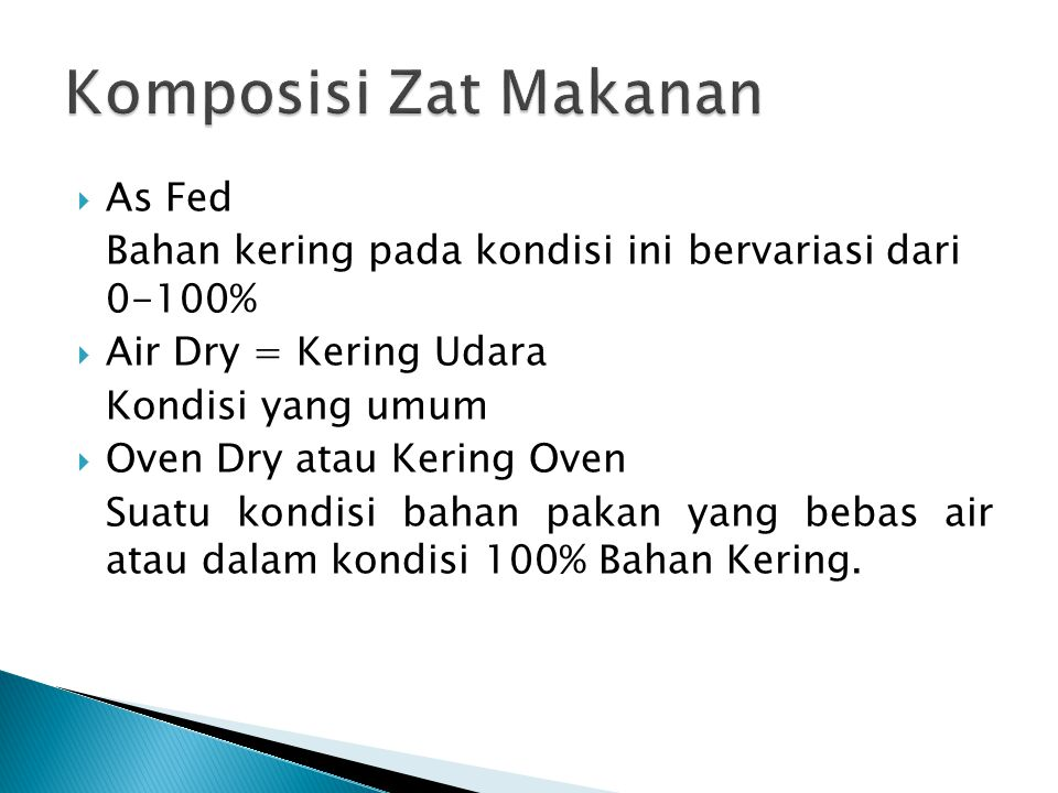 Komposisi Zat Makanan As Fed
