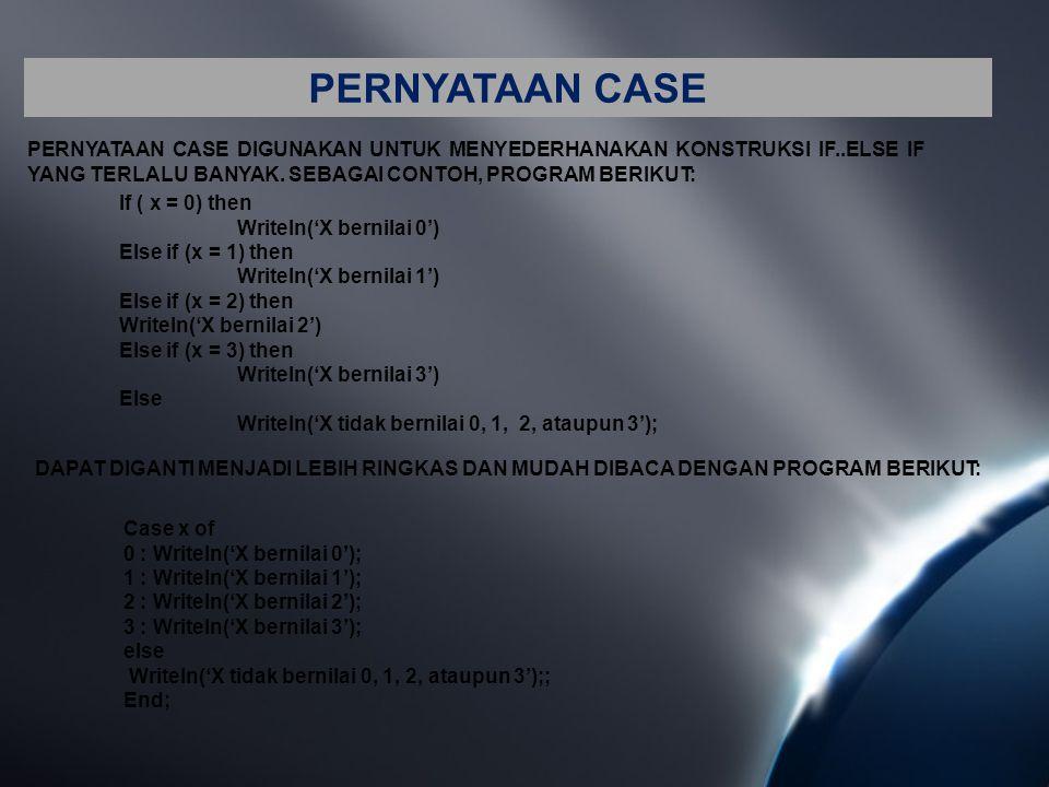 PERNYATAAN CASE PERNYATAAN CASE DIGUNAKAN UNTUK MENYEDERHANAKAN KONSTRUKSI IF..ELSE IF YANG TERLALU BANYAK. SEBAGAI CONTOH, PROGRAM BERIKUT: