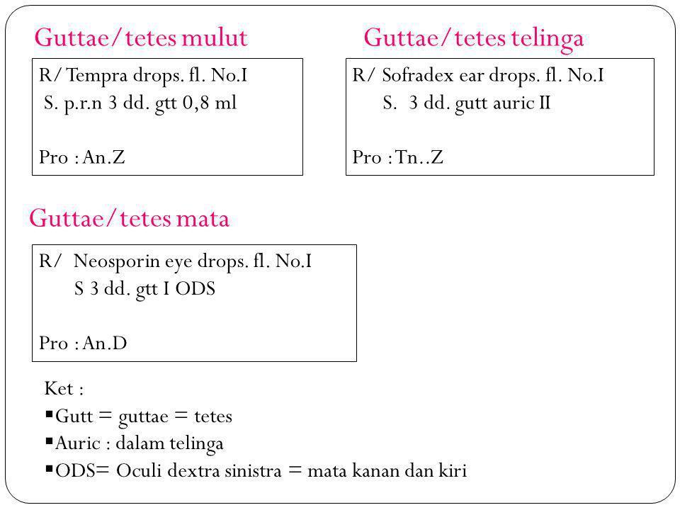 Guttae/tetes mulut Guttae/tetes telinga Guttae/tetes mata