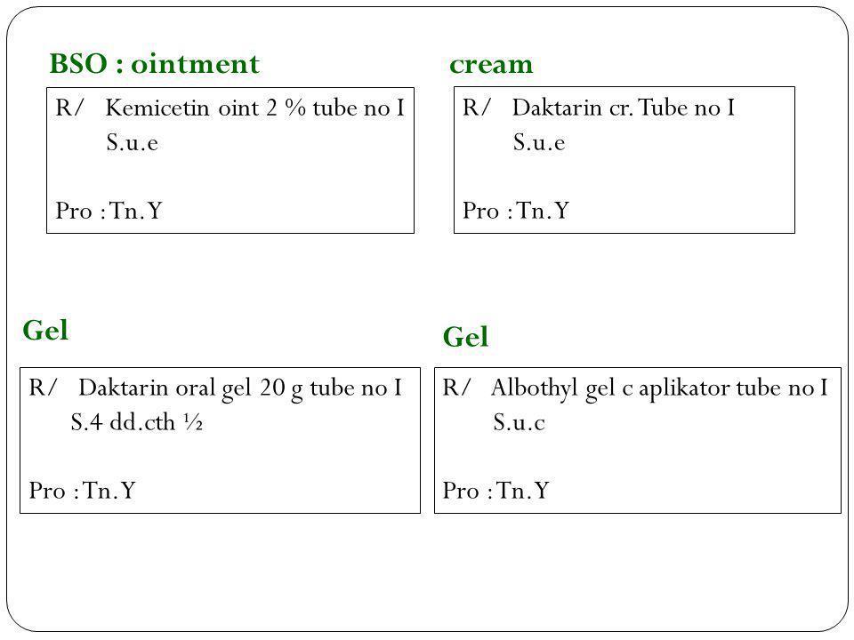 BSO : ointment cream Gel Gel R/ Kemicetin oint 2 % tube no I S.u.e
