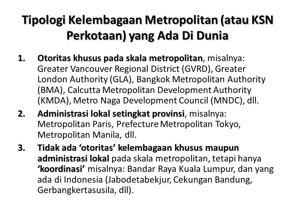 Tipologi Kelembagaan Metropolitan (atau KSN Perkotaan) yang Ada Di Dunia