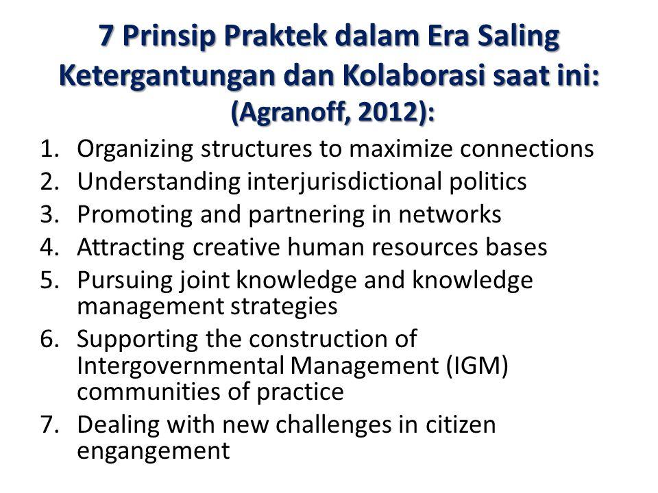 7 Prinsip Praktek dalam Era Saling Ketergantungan dan Kolaborasi saat ini: (Agranoff, 2012):