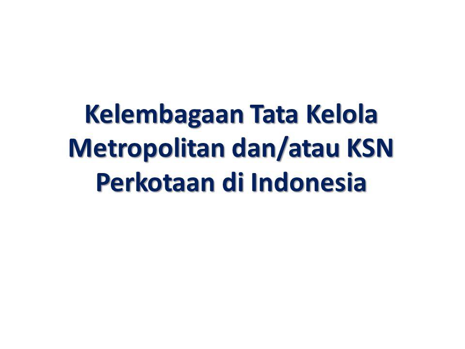 Kelembagaan Tata Kelola Metropolitan dan/atau KSN Perkotaan di Indonesia