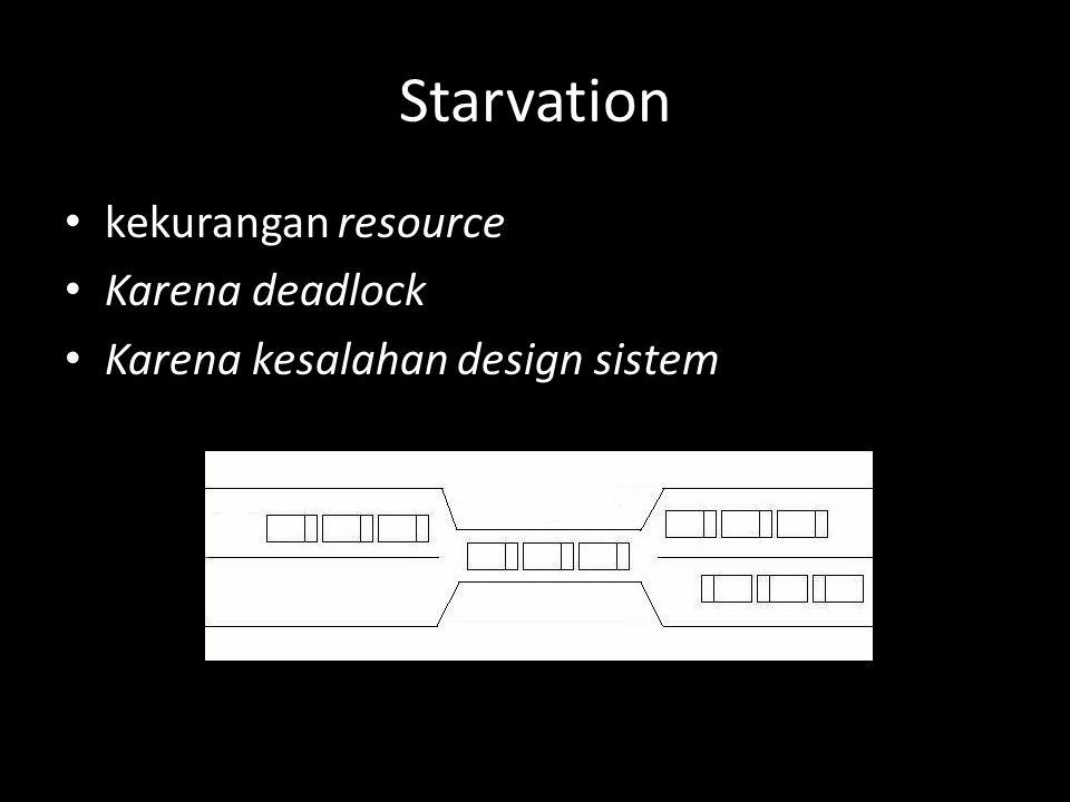 Starvation kekurangan resource Karena deadlock