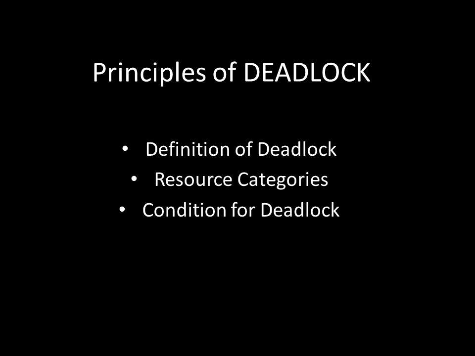 Principles of DEADLOCK