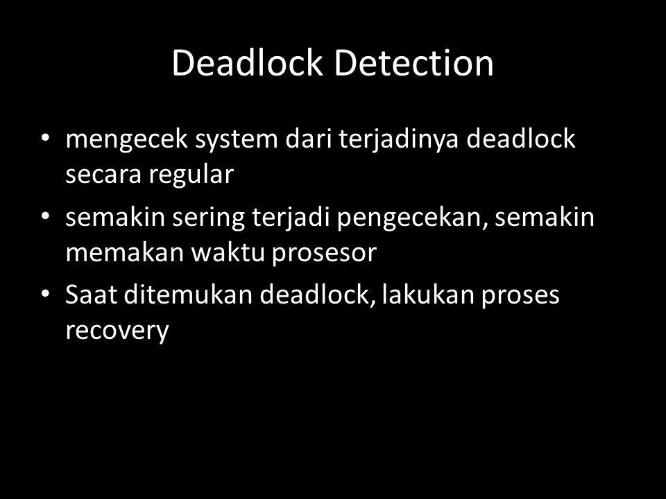 Deadlock Detection mengecek system dari terjadinya deadlock secara regular. semakin sering terjadi pengecekan, semakin memakan waktu prosesor.