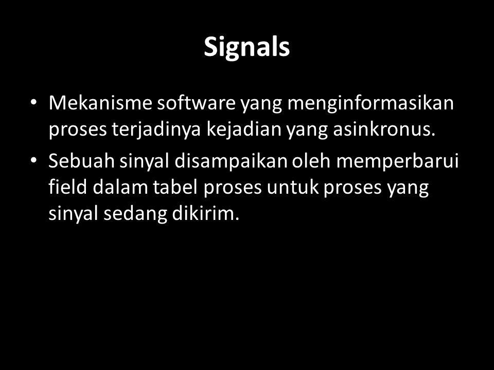 Signals Mekanisme software yang menginformasikan proses terjadinya kejadian yang asinkronus.