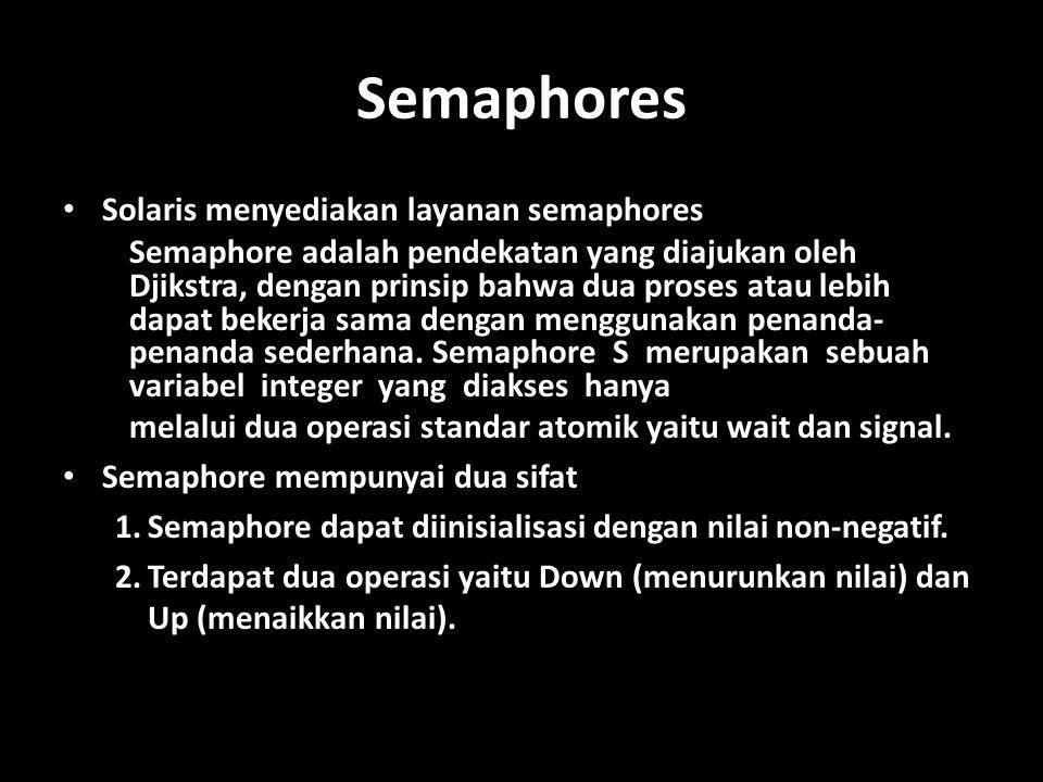 Semaphores Solaris menyediakan layanan semaphores