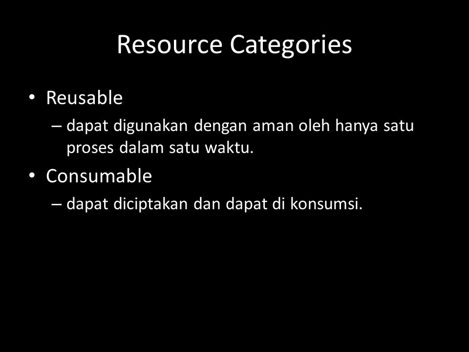 Resource Categories Reusable Consumable