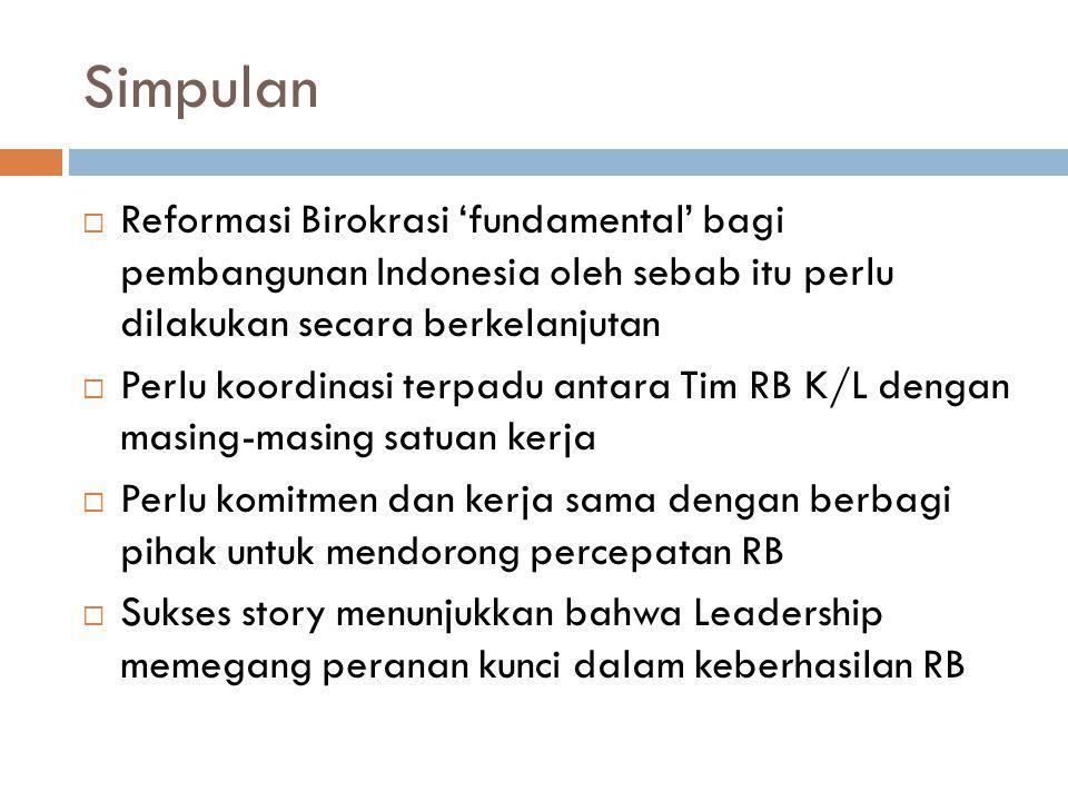 Simpulan Reformasi Birokrasi 'fundamental' bagi pembangunan Indonesia oleh sebab itu perlu dilakukan secara berkelanjutan.