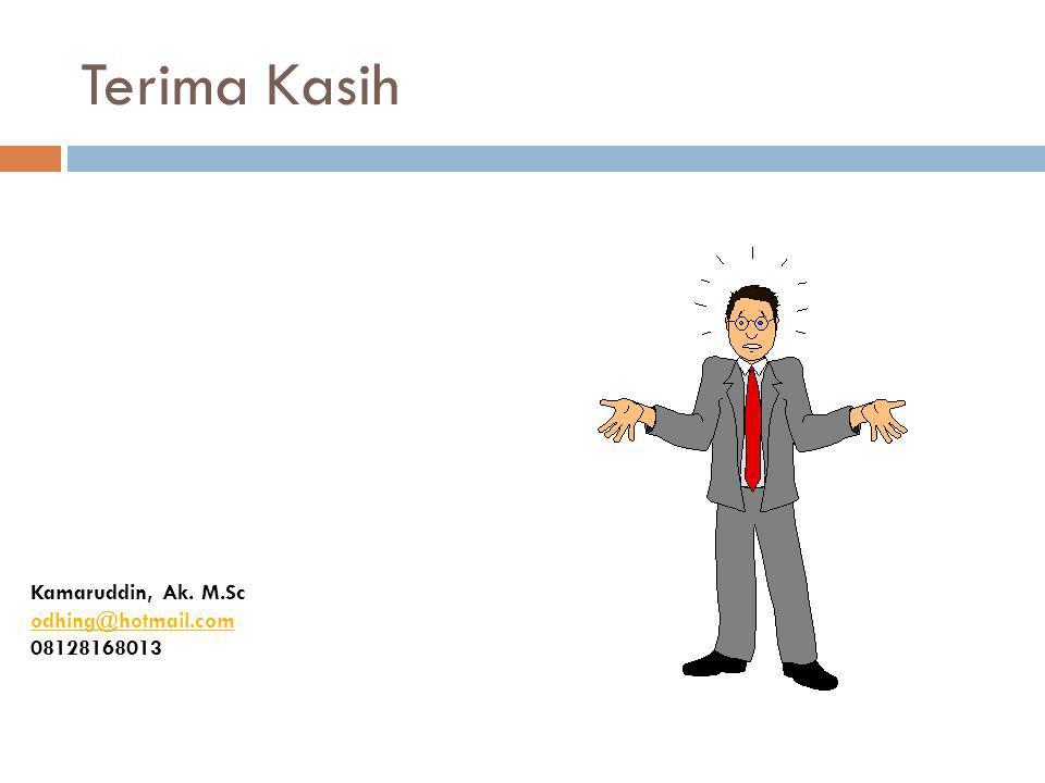 Terima Kasih Kamaruddin, Ak. M.Sc odhing@hotmail.com 08128168013