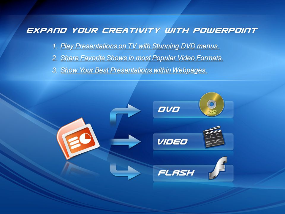 Play Presentations on TV with Stunning DVD menus.