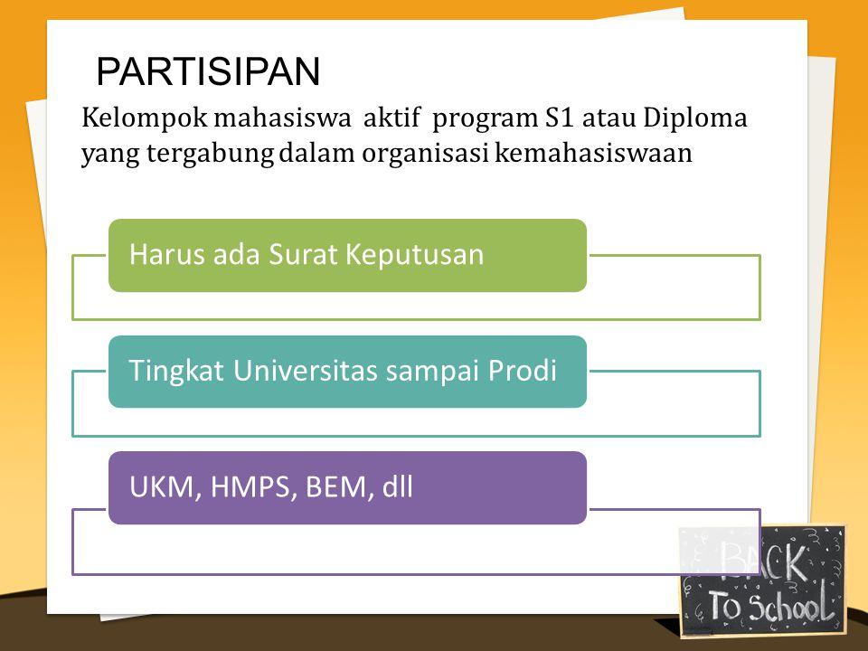 PARTISIPAN Kelompok mahasiswa aktif program S1 atau Diploma yang tergabung dalam organisasi kemahasiswaan.