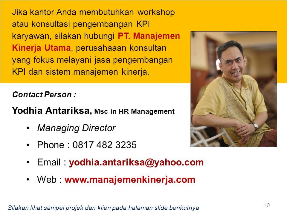 Yodhia Antariksa, Msc in HR Management Managing Director