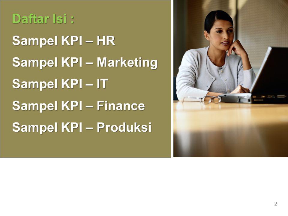 Daftar Isi : Sampel KPI – HR. Sampel KPI – Marketing.