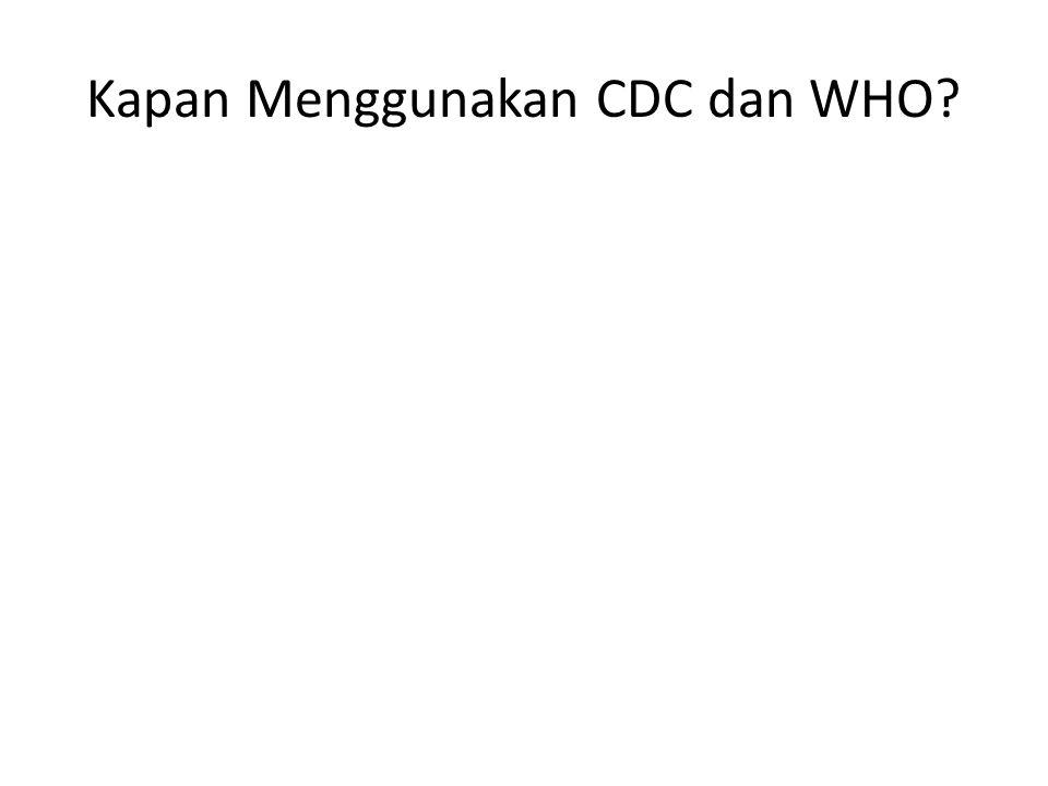 Kapan Menggunakan CDC dan WHO