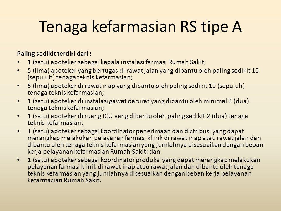 Tenaga kefarmasian RS tipe A