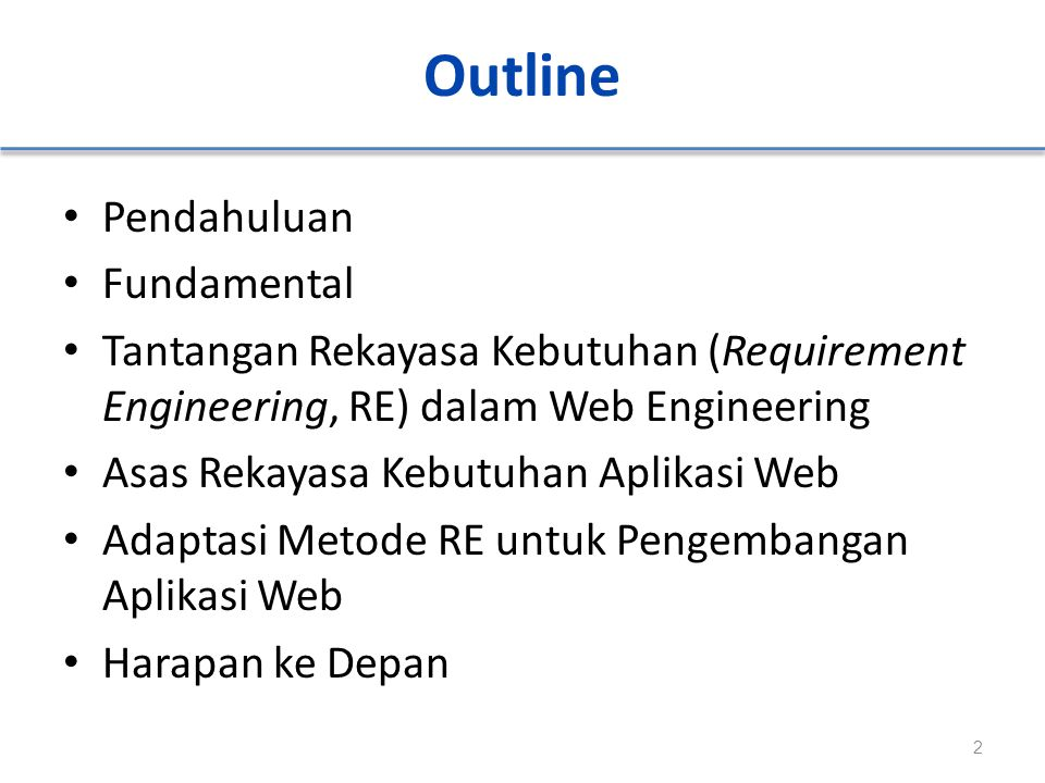Outline Pendahuluan Fundamental