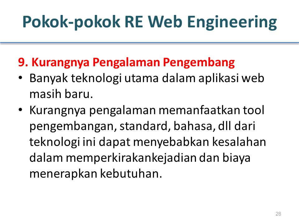 Pokok-pokok RE Web Engineering