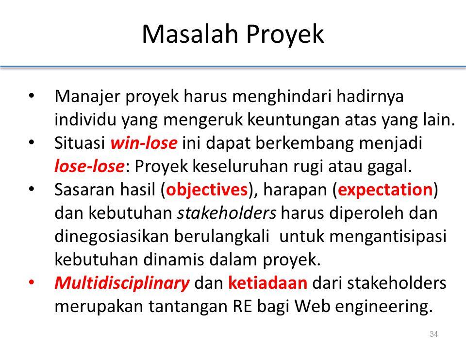 Masalah Proyek Manajer proyek harus menghindari hadirnya individu yang mengeruk keuntungan atas yang lain.