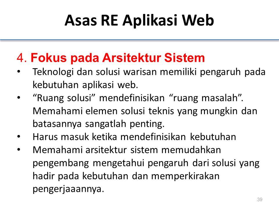 Asas RE Aplikasi Web 4. Fokus pada Arsitektur Sistem