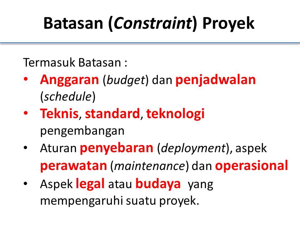 Batasan (Constraint) Proyek