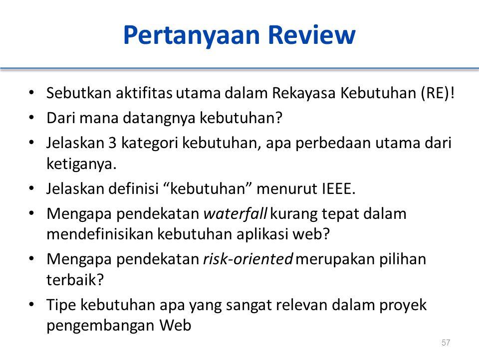 Pertanyaan Review Sebutkan aktifitas utama dalam Rekayasa Kebutuhan (RE)! Dari mana datangnya kebutuhan