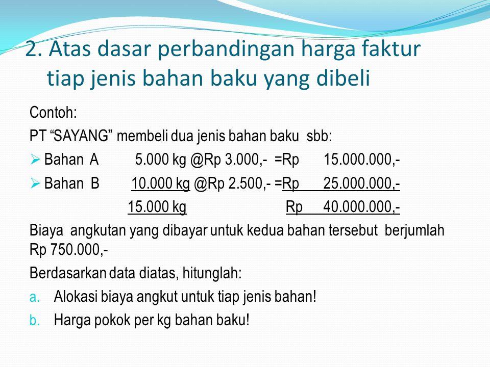 2. Atas dasar perbandingan harga faktur tiap jenis bahan baku yang dibeli