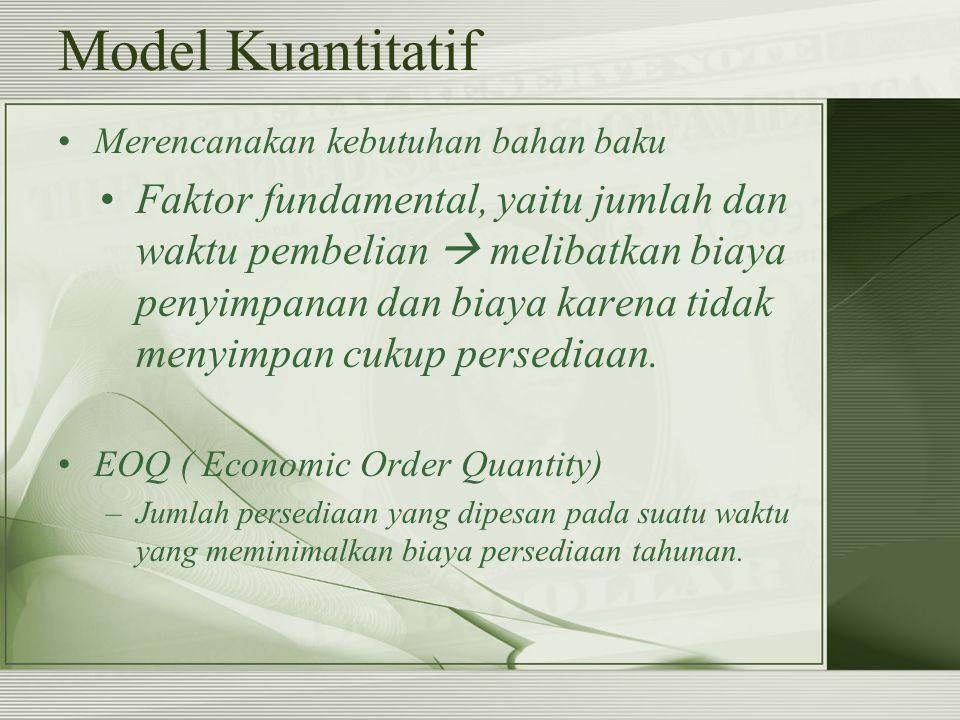 Model Kuantitatif Merencanakan kebutuhan bahan baku.