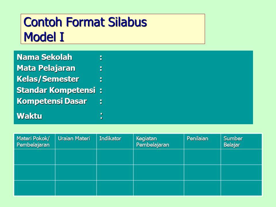 Contoh Format Silabus Model I