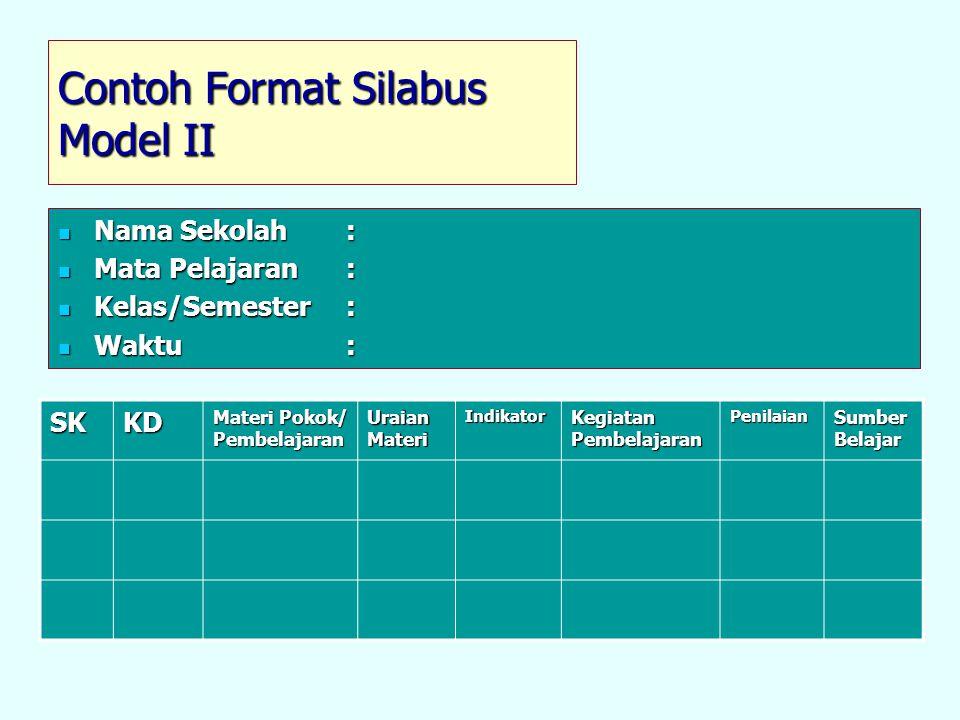 Contoh Format Silabus Model II