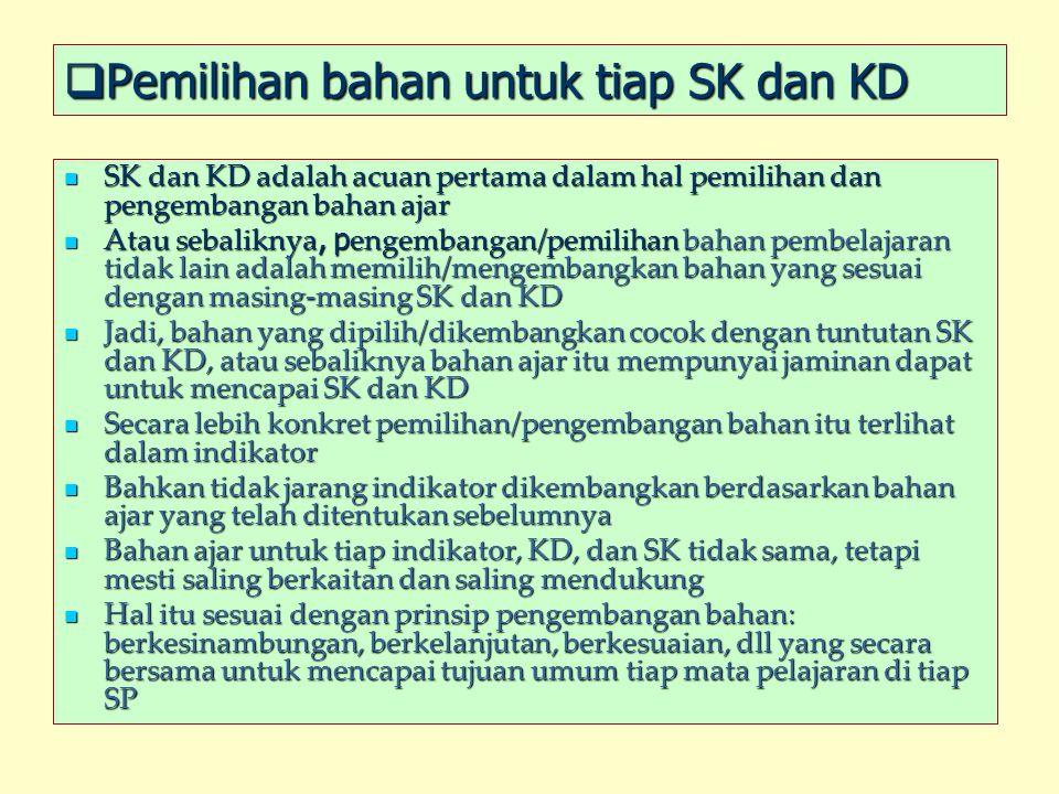 Pemilihan bahan untuk tiap SK dan KD