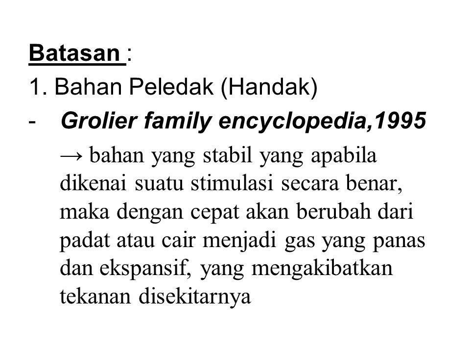 Batasan : 1. Bahan Peledak (Handak) Grolier family encyclopedia,1995.