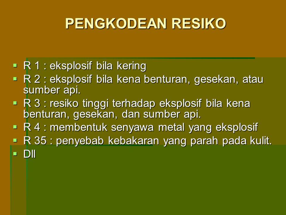 PENGKODEAN RESIKO R 1 : eksplosif bila kering