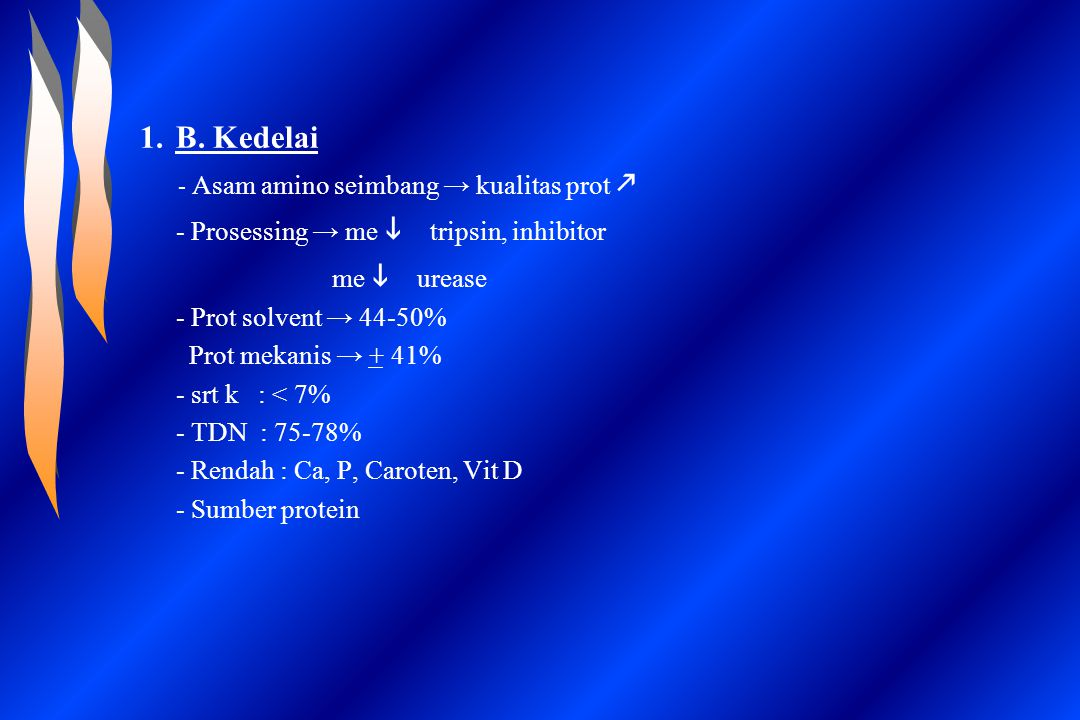 B. Kedelai - Prosessing → me i tripsin, inhibitor me i urease